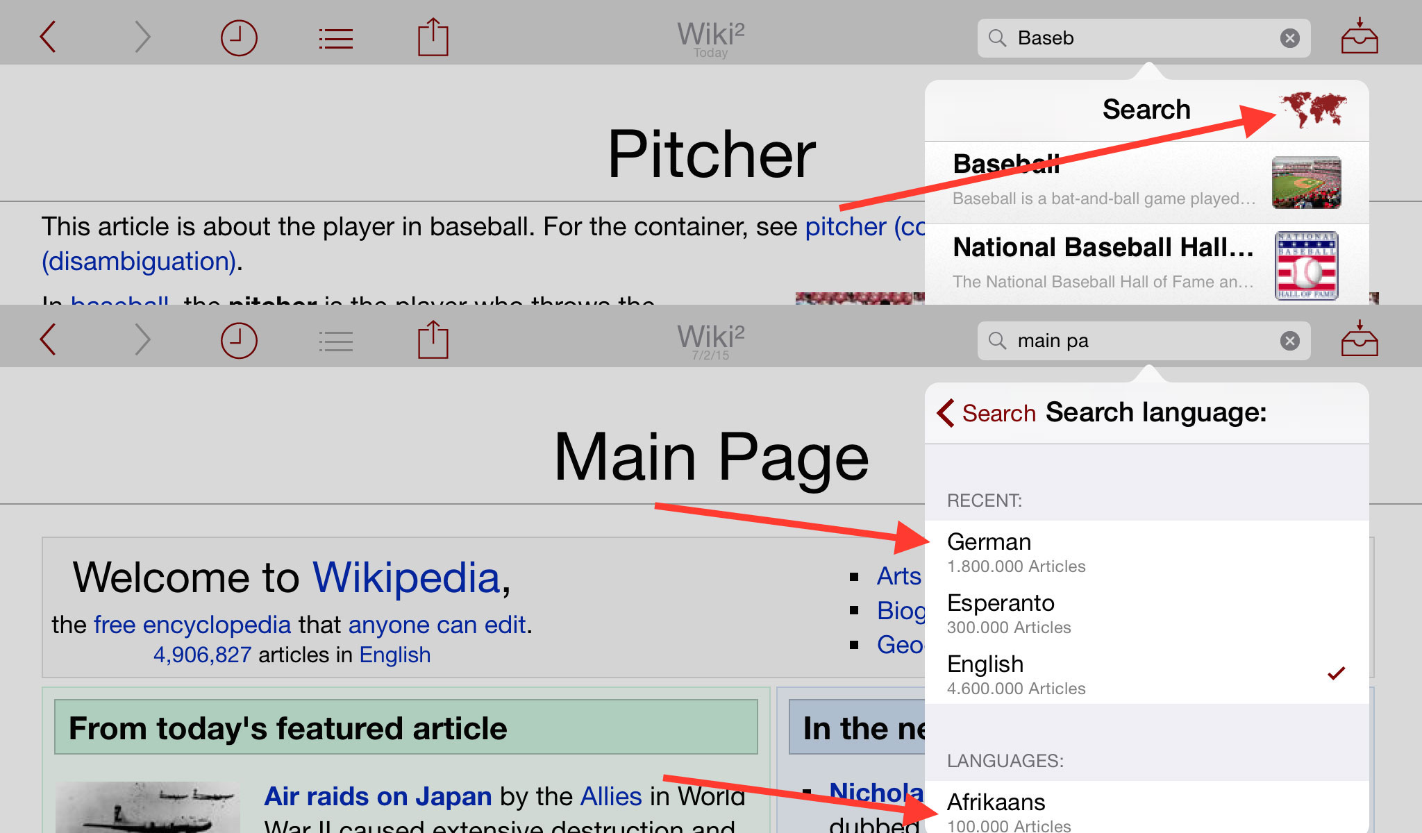 Select the Wikipedia search language